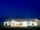 Wedding marquee exterior after dark.