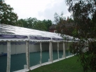 Completely transparent marquee roof and walls