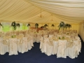 Wedding marquee with dark blue carpet