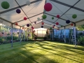 Roof only marquees with coloured paper lanterns