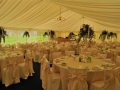 April Wedding marquee with Ivory pleated roof lining,..