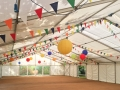 Multicoloured bunting and paper lanterns