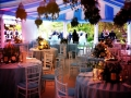 Pleated sky blue and white linings, party ready to go!