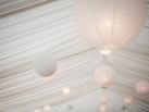 Illuminated white paper lanterns