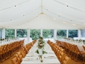 Long tables and festoon lights